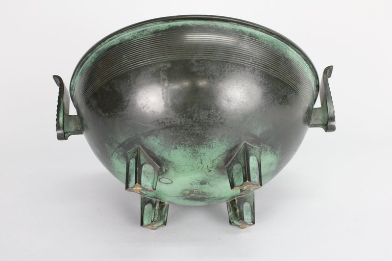 Nils Fougstedt Modernist Bronze Bowl for FAK, Sweden, 1930s For Sale 6