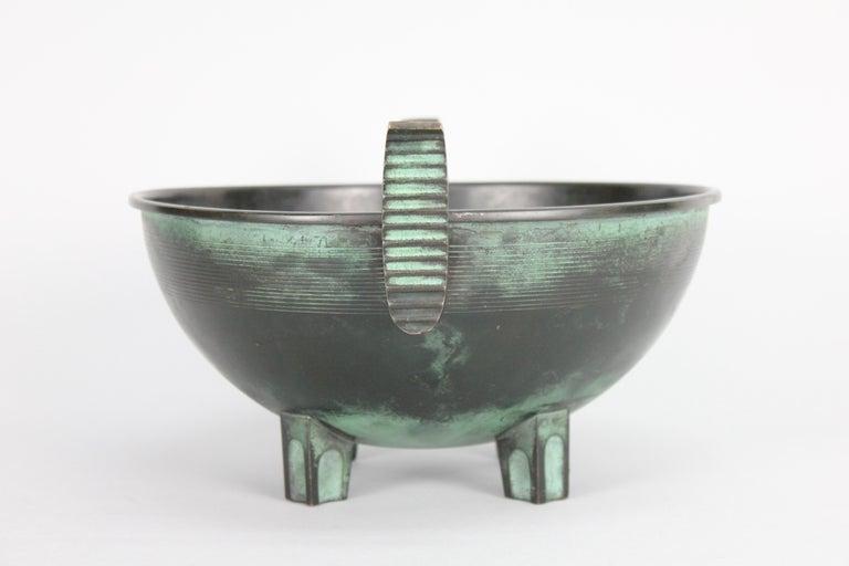 Scandinavian Modern Nils Fougstedt Modernist Bronze Bowl for FAK, Sweden, 1930s For Sale