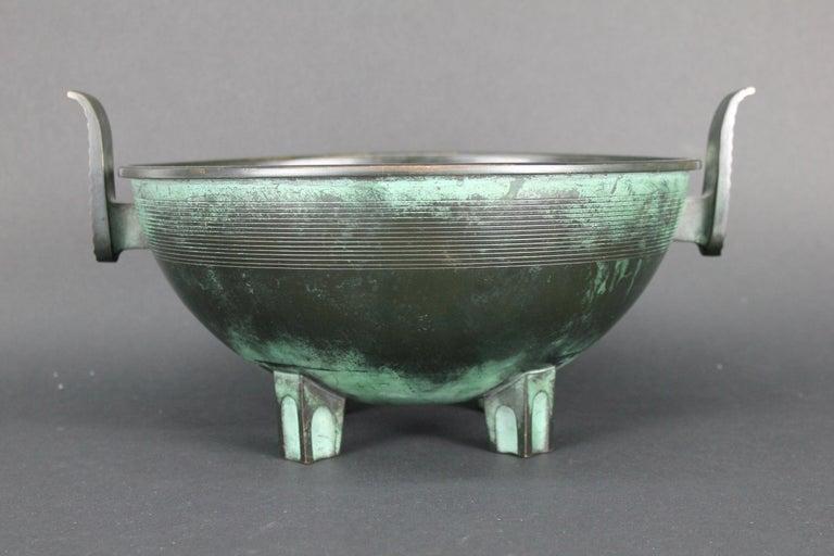 Patinated Nils Fougstedt Modernist Bronze Bowl for FAK, Sweden, 1930s For Sale