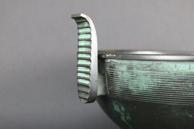 Nils Fougstedt Modernist Bronze Bowl for FAK, Sweden, 1930s In Good Condition For Sale In Skanninge, SE