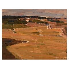 Nils-göran Brunner '1923-1986', Swedish Painter, Oil/ Board, Modernist Landscape