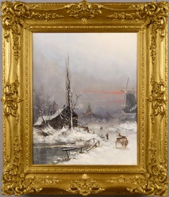 19th Century winter landscape oil painting
