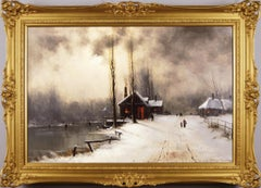 19th Century winter landscape oil painting of figures skating