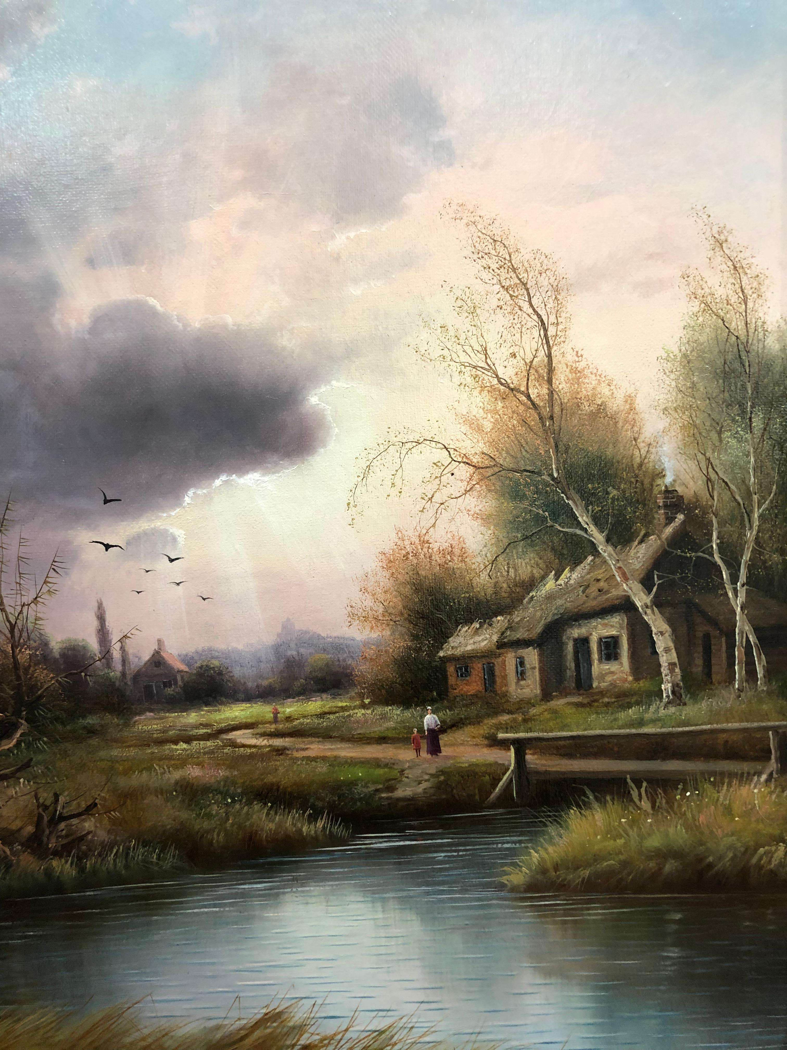 Tranquil River Views - A Pair Of Oil Paintings