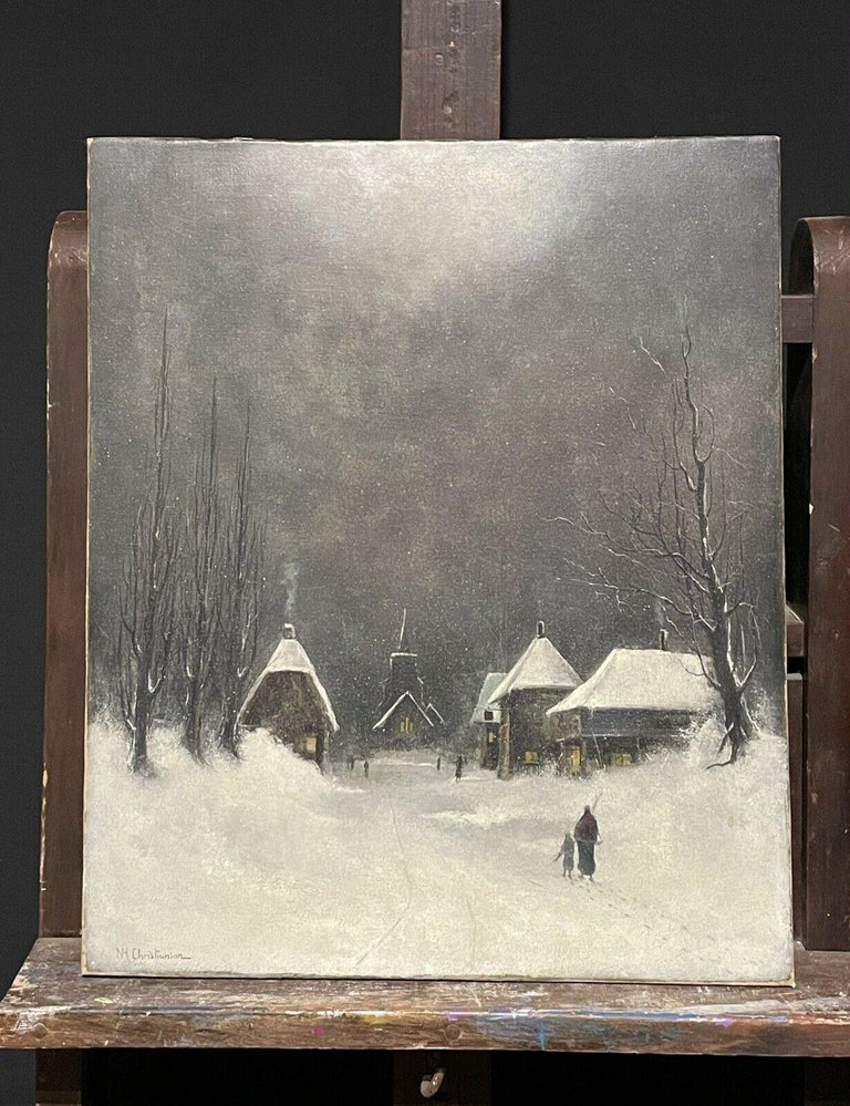 SIGNED ORIGINAL OIL PAINTING - FIGURES WALKING THROUGH WINTER SNOW VILLAGE PATH - Painting by Nils Hans Christiansen