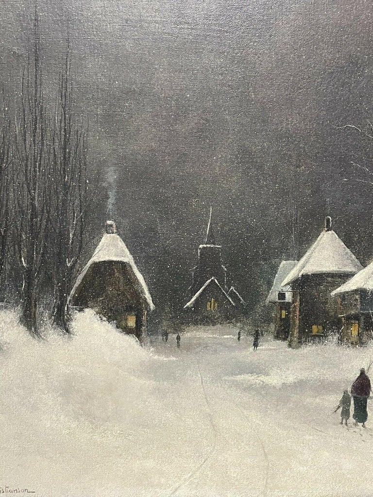 SIGNED ORIGINAL OIL PAINTING - FIGURES WALKING THROUGH WINTER SNOW VILLAGE PATH - Victorian Painting by Nils Hans Christiansen