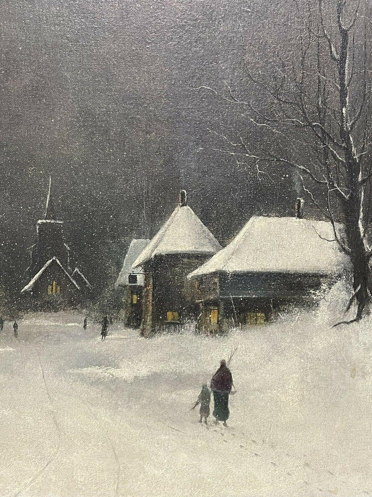 SIGNED ORIGINAL OIL PAINTING - FIGURES WALKING THROUGH WINTER SNOW VILLAGE PATH - Gray Landscape Painting by Nils Hans Christiansen