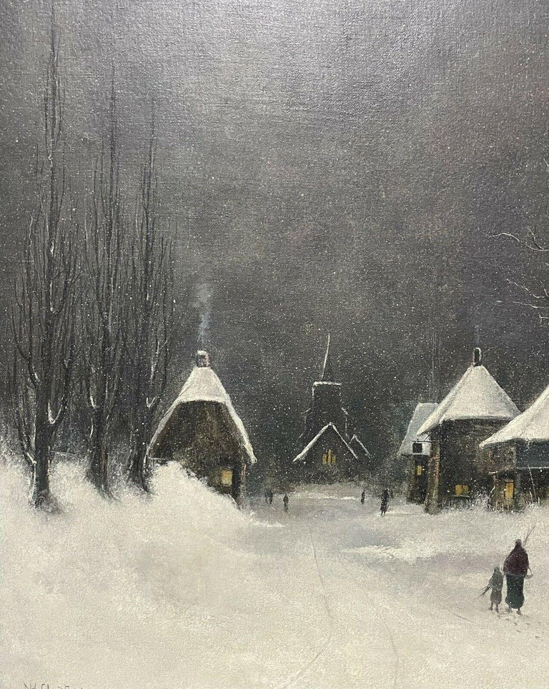 Artist/ School: Nils H. Christiansen (Danish, 1850-1922), signed  Nils Hans Christiansen was a well-accomplished painter born in Esbjerg in the Jutland peninsula of southwest Denmark on July 22nd 1850. He specialised in winter landscapes and