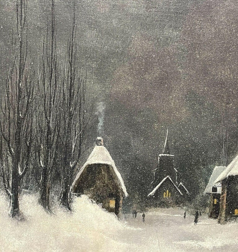 SIGNED ORIGINAL OIL PAINTING - FIGURES WALKING THROUGH WINTER SNOW VILLAGE PATH For Sale 1
