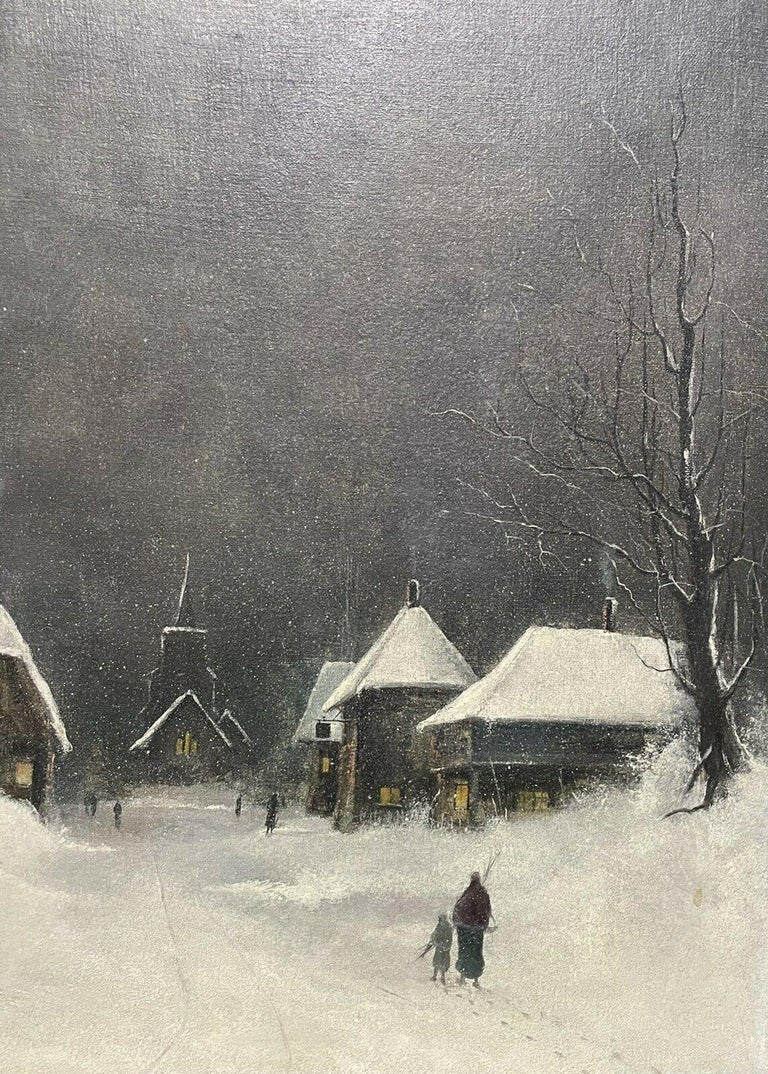 SIGNED ORIGINAL OIL PAINTING - FIGURES WALKING THROUGH WINTER SNOW VILLAGE PATH For Sale 2