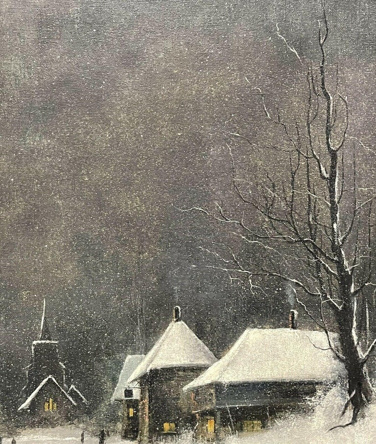 SIGNED ORIGINAL OIL PAINTING - FIGURES WALKING THROUGH WINTER SNOW VILLAGE PATH For Sale 3