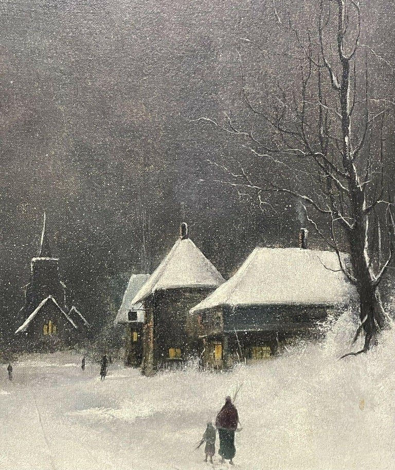 SIGNED ORIGINAL OIL PAINTING - FIGURES WALKING THROUGH WINTER SNOW VILLAGE PATH For Sale 4
