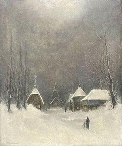 SIGNED ORIGINAL OIL PAINTING - FIGURES WALKING THROUGH WINTER SNOW VILLAGE PATH