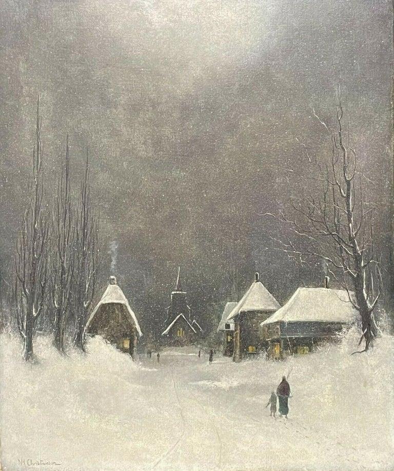 Nils Hans Christiansen Landscape Painting - SIGNED ORIGINAL OIL PAINTING - FIGURES WALKING THROUGH WINTER SNOW VILLAGE PATH