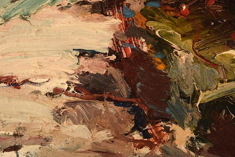 Mid-20th Century Nils Johansson, Swedish Artist, Oil on Canvas,