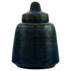 Nils Kähler for Kähler, HAK. Rare Glazed Lidded Jar with Sgraffito, 1960s