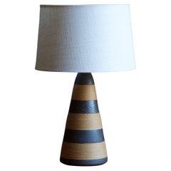 Nils Kähler, Table Lamp, Grey-Glazed Stoneware, Cord, Kähler, Denmark, 1950s