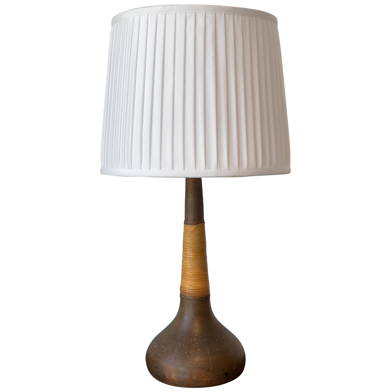 Nils Kähler, Table Lamp, Stoneware / Cane, for Le Klint, Denmark, 1950s