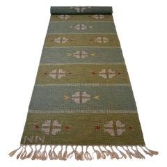 Nils Nilsson Flat Weaved Carpet 'Röllakan', Sweden, 1950s