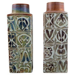 Nils Thorsson and Johanne Gerber for Aluminia, Royal Copenhagen, Two Baca Vases