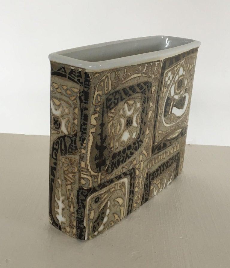 Scandinavian Modern Nils Thorsson Danish Faience Glazed Baca Vase by Royal Copenhagen For Sale