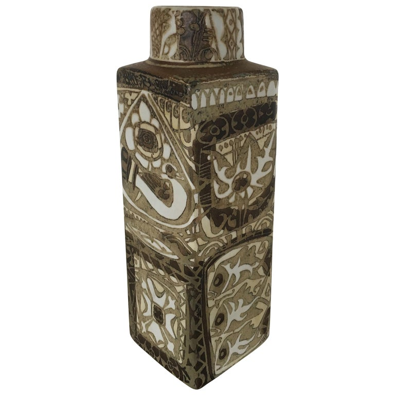 Nils Thorsson Danish Faience Glazed Baca Vase by Royal Copenhagen For Sale
