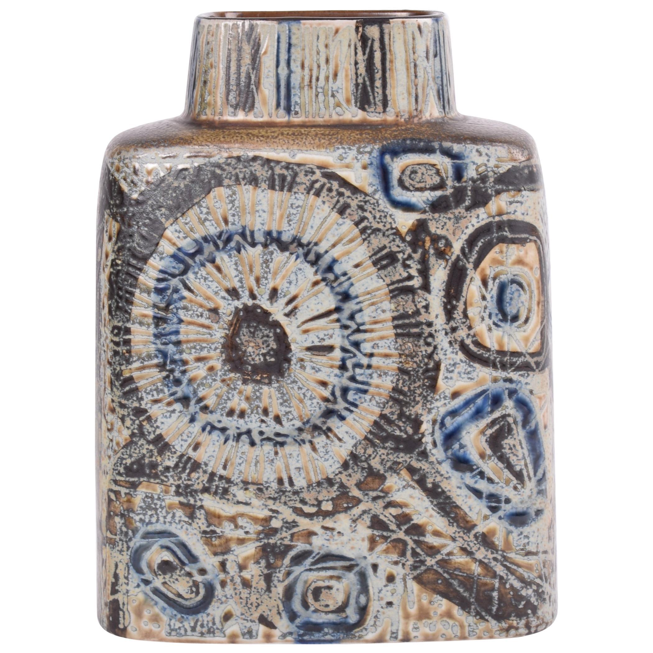 Nils Thorsson for Royal Copenhagen Baca Vase Brown Abstract Decor Danish Modern
