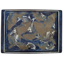Nils Thorsson for Royal Copenhagen, Large Tray in Glazed Faience with Fish Motif