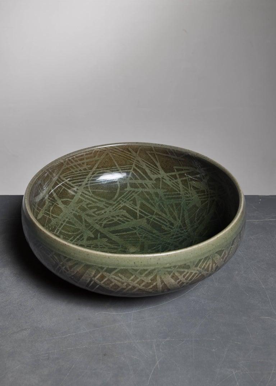 Scandinavian Modern Nils Thorsson Green Ceramic Bowl for Royal Copenhagen, 1950s For Sale