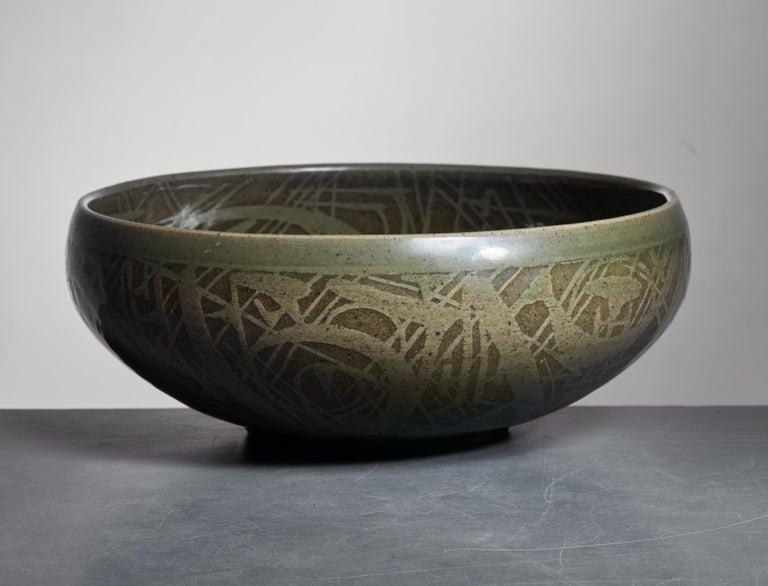 Nils Thorsson Green Ceramic Bowl for Royal Copenhagen, 1950s 4