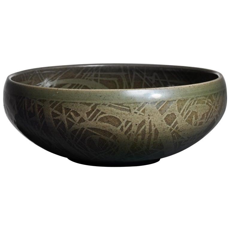Nils Thorsson Green Ceramic Bowl for Royal Copenhagen, 1950s 1