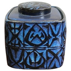 Nils Thorsson Scandinavian Blue Ceramic Box for Royal Copenhagen, 1960s