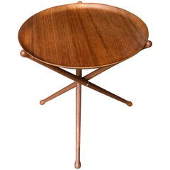 Nils Trautner Teak Tripod Tray Table Midcentury Serving Picnic Pool Campaign