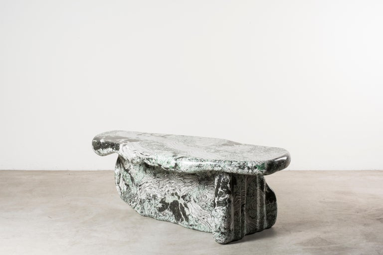 Guise 1 Scagliola coffee table by Odd Matter, Italy, 2018. Nilufar edition. EPS foam, spray. 130 x 47 x H 56 cm 51.2 x 18.5 x H 22 in. Guise explores the first encounter?through the potential of spray painting.?Surfaces protect what is below and