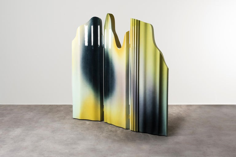 Guise screen by Odd Matter, the Netherlands, 2019. Nilufar edition. EPS foam, spray. 205 x 15.8 x H 216 cm, 84.6 x 6.2 x H 85 in. Guise explores the first encounter?through the potential of spray painting. Surfaces protect what is below and allow us