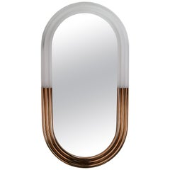 Nimbo Mirror with LED Light Half Metal Half Methacrylate