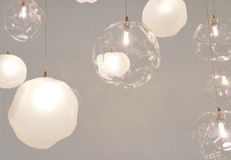 Modern Nimbus 3, Blown Glass Pendant Bedside Chandelier by Shakuff For Sale