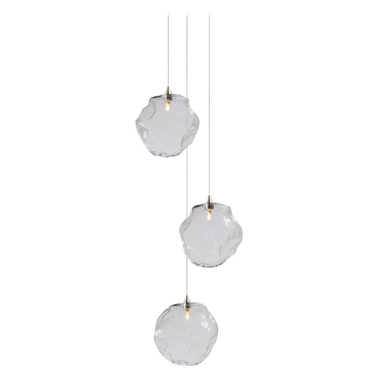 Nimbus 3, Blown Glass Pendant Bedside Chandelier by Shakuff For Sale