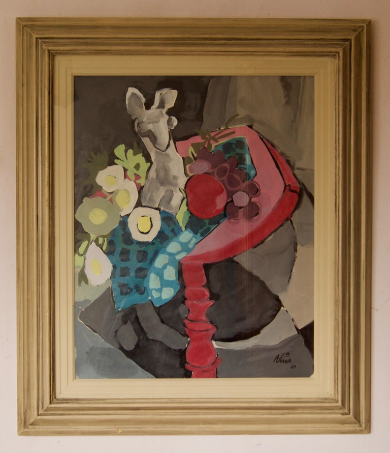 Abstract Still Life of Vase Fruit on Table Watercolour - Late 1960s by Nina For Sale 1