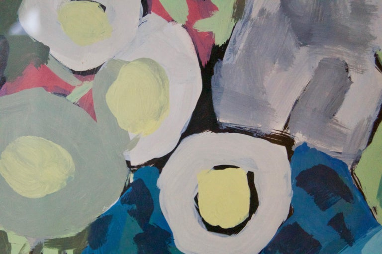 Abstract Still Life of Vase Fruit on Table Watercolour - Late 1960s by Nina For Sale 2