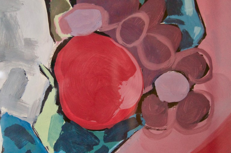 Abstract Still Life of Vase Fruit on Table Watercolour - Late 1960s by Nina For Sale 4