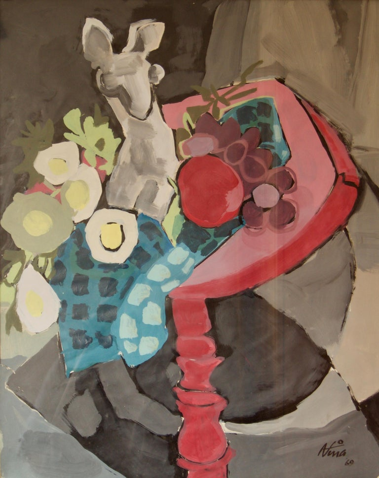 Nina - 1969  Watercolour in a wooden frame under glass  Keywords: abstract, vase, table, tablecloth, still life, fruit, apple, watercolor, red, animal, eggs, blue, flowers.
