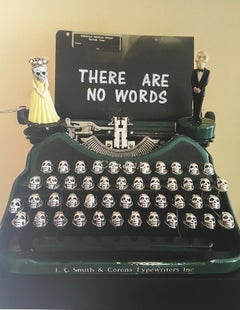 There Are No Words, Limited Edition photograph, typewriter, skulls, Framed