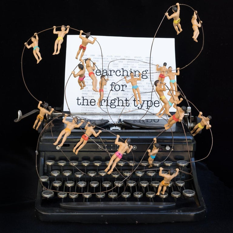 Searching for the Right Type 2, Limited Edition print, typewriter, figures, text - Print by Nina Bentley