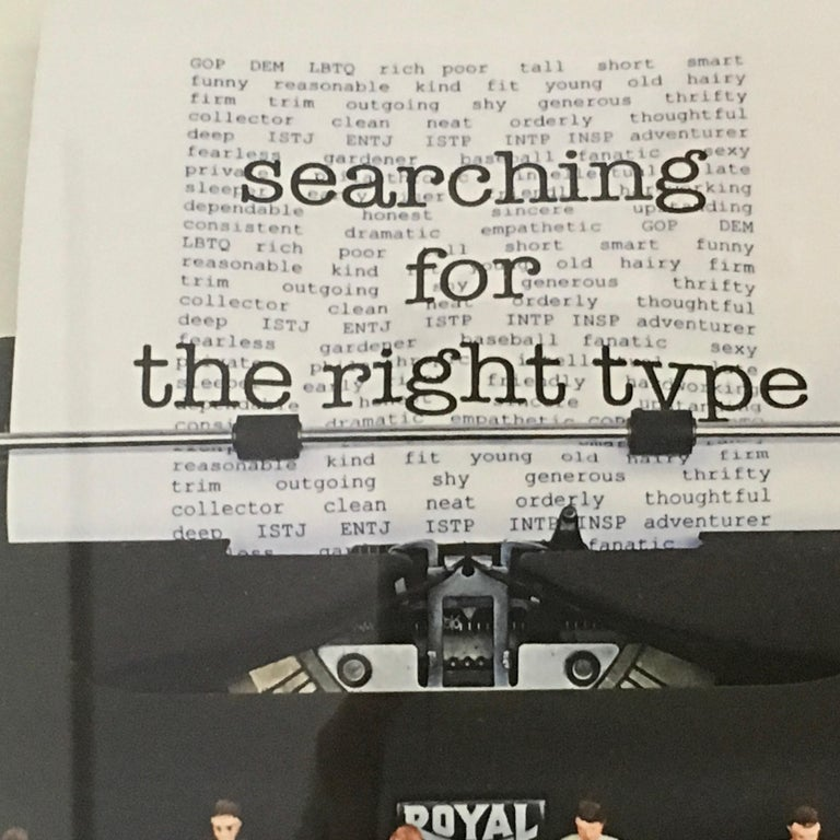Searching for the Right Type 2, Limited Edition print, typewriter, figures, text - Contemporary Print by Nina Bentley
