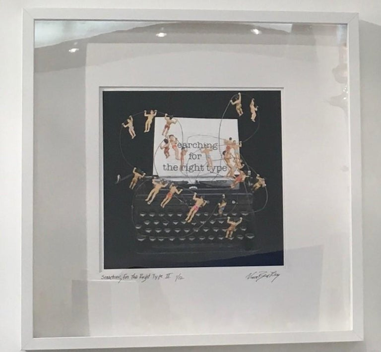 Nina Bentley Figurative Print - Searching for the Right Type 2, Limited Edition print, typewriter, figures, text