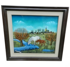 Nina BJELOGRAVIC (1905-1990) painting under glass, signed and dated 1976