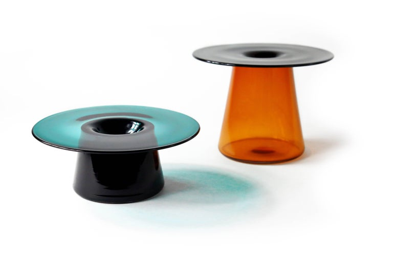 Minimalist Nina Cho Tabletop Object in Champagne and Grey Handmade Glass For Sale