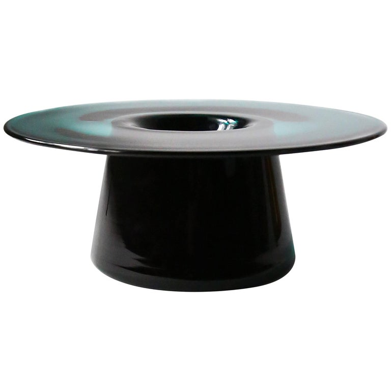 Nina Cho Tabletop Object in Teal and Black Handmade Glass For Sale