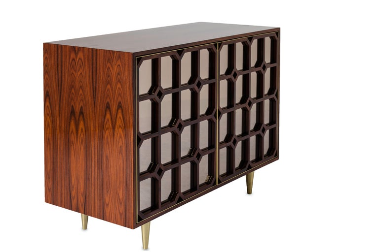 Modern Nina Credenza Natural Wood Handmade Details Bronze Mirror 240 For Sale